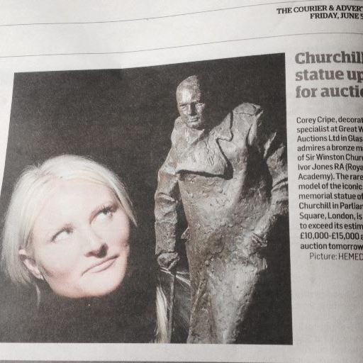 Appraiser Corey Cripe Kuchel auctions Winston Churchill bronze
