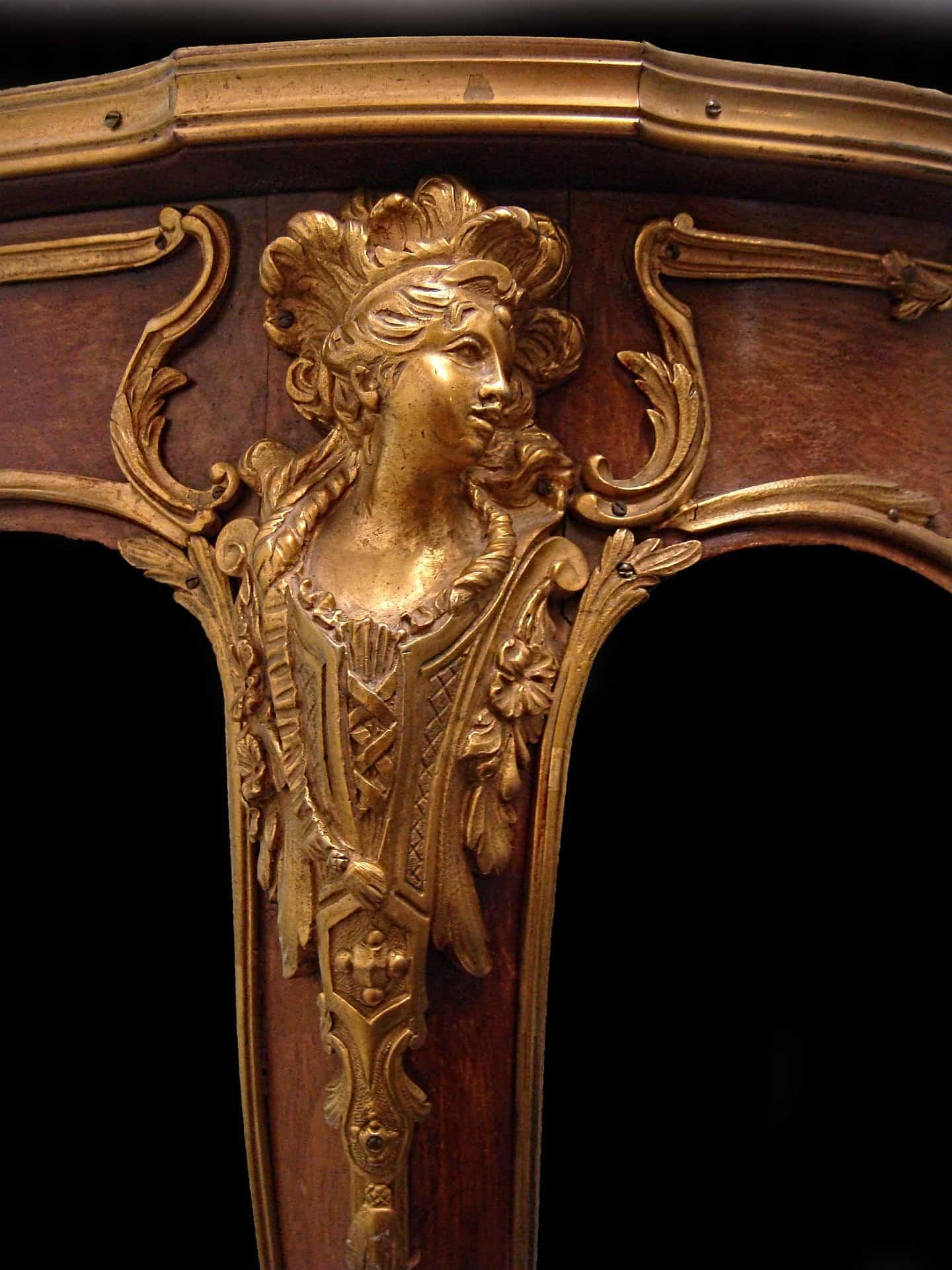 Leg of antique Louis French gilt bronze mounted desk appraisal