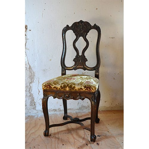 Antique wood chair with floral upholstered seat appraisal