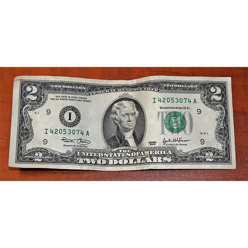U.S. currency two dollar bill