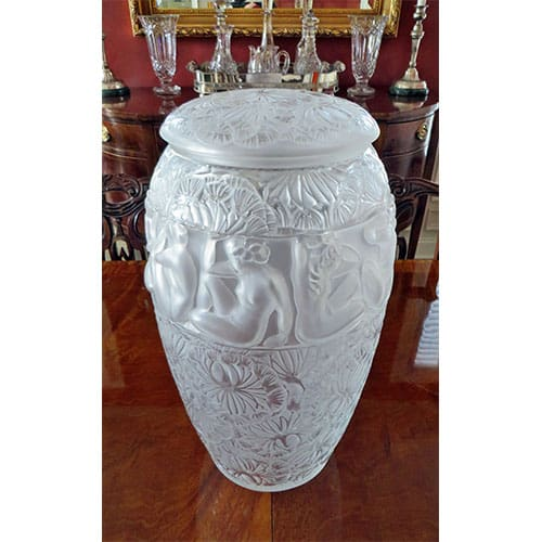 Lalique style frosted glass lidded vase