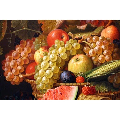Oil painting still life of fruit in a bowl appraisal