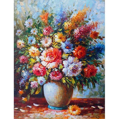 Oil painting still life of flowers in a vase valuation