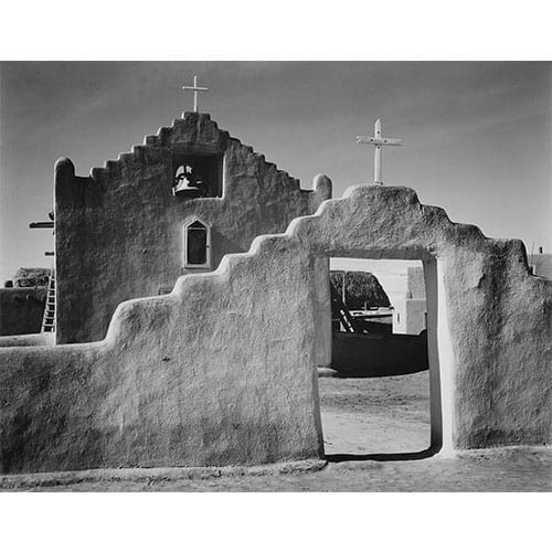 Vintage black and white photograph of South American adobe church